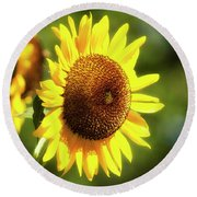 Round Beach Towel featuring the photograph Sunflower Field by Christina Rollo