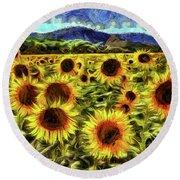 Sunflower Field Van Gogh Round Beach Towel