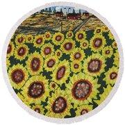 Sunflower Fields  Forever Round Beach Towel