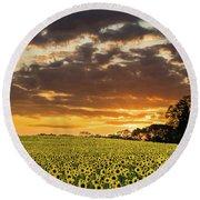 Sunflower Fields Sunset Round Beach Towel