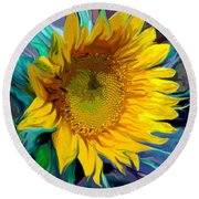 Sunflower For Van Gogh Round Beach Towel