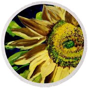 Round Beach Towel featuring the painting Sunflower Glow by Patti Ferron