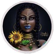 Sunflower Goddess  Round Beach Towel