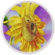 Sunflower Gold Round Beach Towel