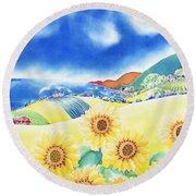 Sunflower Hills Round Beach Towel