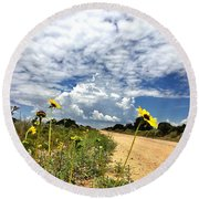 Sunflower Hitchhikers Round Beach Towel