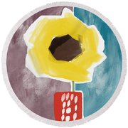 Sunflower In A Small Vase- Art By Linda Woods Round Beach Towel