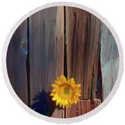 Sunflower In Barn Wood Round Beach Towel
