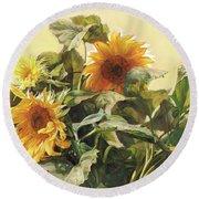Sunflower In Love - Good Morning America Round Beach Towel