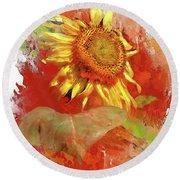 Sunflower In Red Round Beach Towel