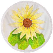 Round Beach Towel featuring the drawing Sunflower by J R Seymour