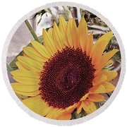 Round Beach Towel featuring the painting Sunflower by John Dyess