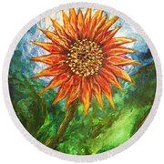 Sunflower Joy Round Beach Towel