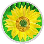 Round Beach Towel featuring the painting Sunflower  by Magdalena Frohnsdorff
