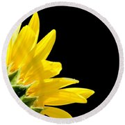 Sunflower On Black Round Beach Towel