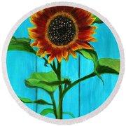 Sunflower On Blue Round Beach Towel