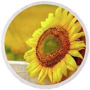 Sunflower On The Fence Round Beach Towel