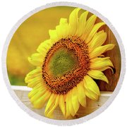 Sunflower On The Fence Round Beach Towel