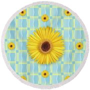 Sunflower Pattern Round Beach Towel