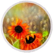 Sunflower Rain Round Beach Towel