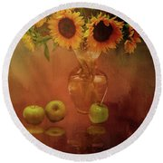 Sunflower Reflections Round Beach Towel