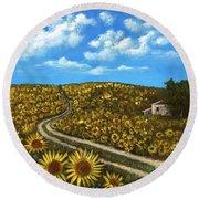 Round Beach Towel featuring the painting Sunflower Road by Anastasiya Malakhova