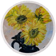 Sunflower Still Life Round Beach Towel