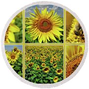 Sunflower Story - Collage Round Beach Towel