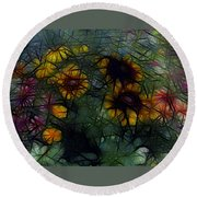 Sunflower Streaks Round Beach Towel
