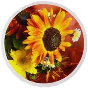 Sunflower Strong Round Beach Towel by Kathy Bassett