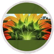 Sunflower Sunburst Round Beach Towel