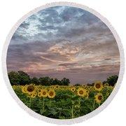 Sunflower Sunrise Round Beach Towel