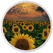 Round Beach Towel featuring the photograph Sunflower Sunset  by Aaron J Groen