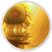 Sunflower Sunset Round Beach Towel by David French