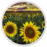 Sunflower Sunset Round Beach Towel by Kristal Kraft