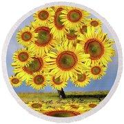 Sunflower Tree Round Beach Towel