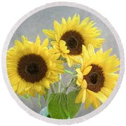 Sunflower Trio Round Beach Towel by Louise Kumpf