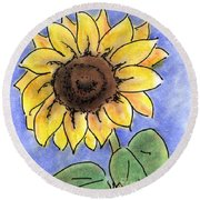 Round Beach Towel featuring the drawing Sunflower by Vonda Lawson-Rosa