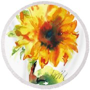 Sunflower With Blues Round Beach Towel