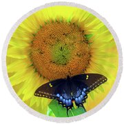 Sunflower With Company Round Beach Towel by Marion Johnson