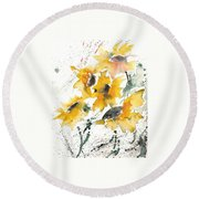 Sunflowers 10 Round Beach Towel