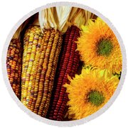 Sunflowers And Indian Corn Round Beach Towel