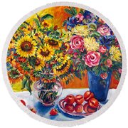 Sunflowers And Plums Round Beach Towel