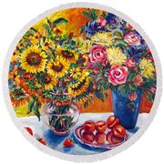 Sunflowers And Plums Round Beach Towel by Alexandra Maria Ethlyn Cheshire