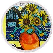 Sunflowers And Starry Memphis Nights Round Beach Towel