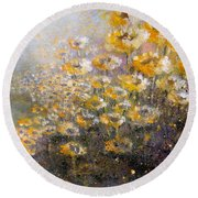 Round Beach Towel featuring the painting Sunflowers by Andrew King
