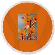 Sunflowers At Harvest Round Beach Towel