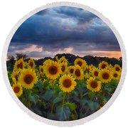 Sunflowers At Sunset Round Beach Towel