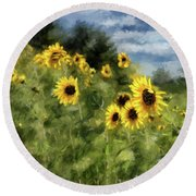 Sunflowers Bowing And Waving Round Beach Towel