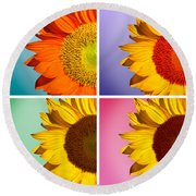 Sunflowers Collage Round Beach Towel